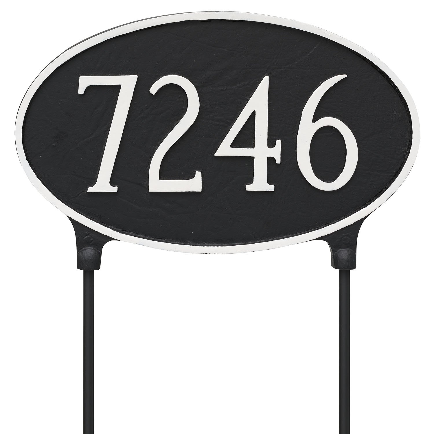 Montague Metal TSL-0002S1-L-BW 10.5'' x 18'' Double Sided Lawn Classic Oval Address Sign Plaque with Stake, Large, Black/White by Montague Metal