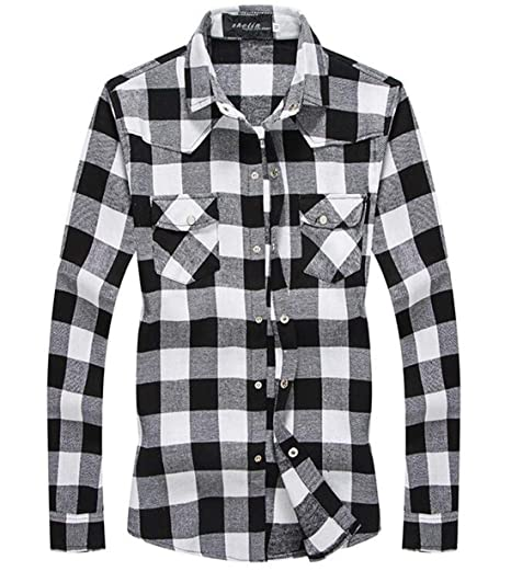 GRMO Men Loose Pockets Cargo Long Sleeve Solid Button Down Flannel Shirts