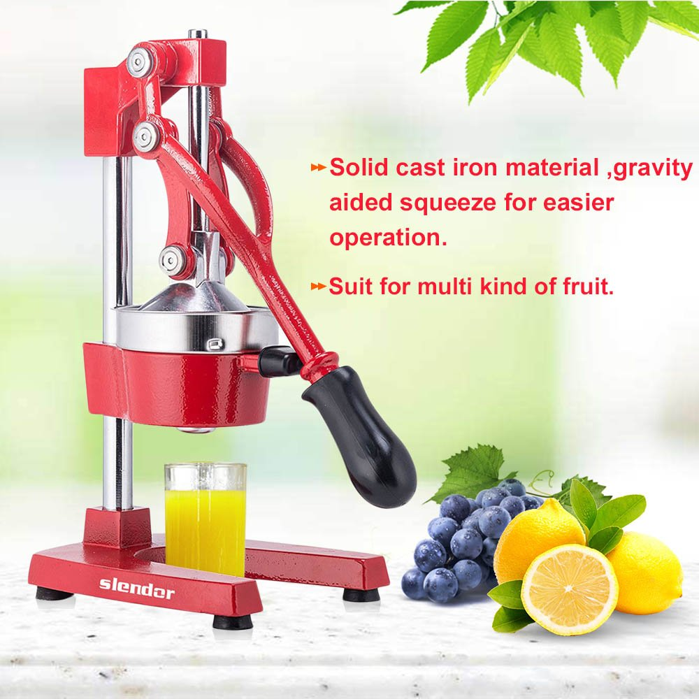 Commercial Citrus Press Fruit Squeezer Press Juicer Manual for Orange Lemon Pomegranate Juicing -Extract Maximum Juice – Heavy Duty Cast Iron Base and Handle - Non Skid Suction Foot Base Slendor
