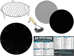 Air Fryer Stainless Steel Rack Accessory Compatible With Ninja Foodi, Posame, Ultrean, Costzon, HiVehicle, Kazila, Zokop + More | Magnetic Cheat Sheet Cooking Guides & Baking Accessories