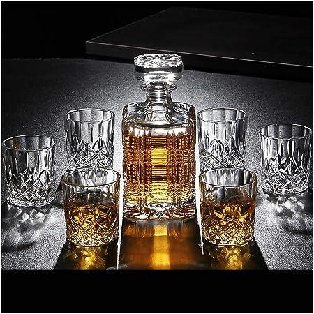 Set di bicchieri per decanter e whisky Calice di lusso Senza piombo Bottiglia di vino rosso Vino Set regalo dorato per la casa di 7-A