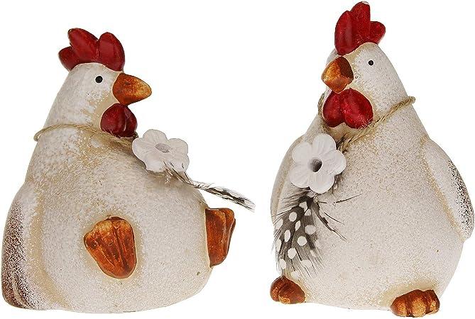 MACOSA GW10055268 - Juego de 2 gallinas decorativas de arcilla, color rojo y blanco, decoración de Pascua, figura decorativa de decoración de mesa: Amazon.es: Hogar