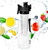 23 oz Fruit Infuser Water Bottle by Danum - Top Detox Bottle, Sport Flip-Top Water Bottle, BPA-Free Eastman Tritan - Free Recipe Ebook