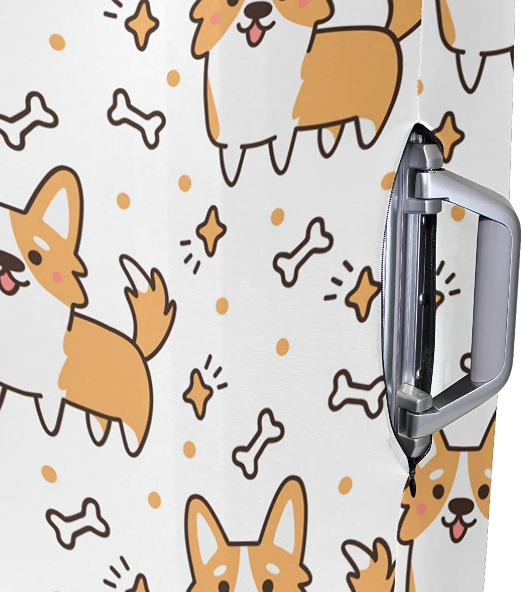 Elastic Travel Luggage Cover Cute Corgi Dogs Suitcase Protector for 18-20 Inch Luggage
