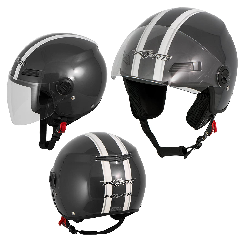A-Pro Motorradhelm Motorrad Roller Offenes Jet Helm Viser ECE 22 05 Hellblau L