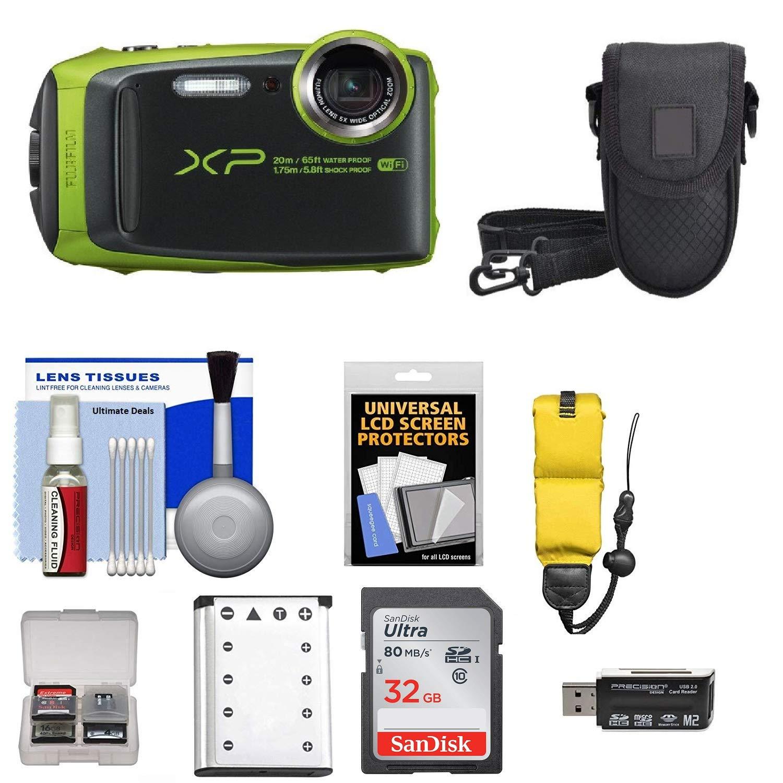 Fujifilm FinePix XP120 Shock & Waterproof Wi-Fi Digital Camera (Lime) with 32GB Card + Battery + Cases + Float Strap + Kit