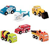 Battat - Wooden Vehicles – Miniature Wooden Toys, Including Toy Cars, Toy Trucks, Toy Helicopter & Ambulance, for Kids Age 3-Year-Old & Up (6-Pcs)