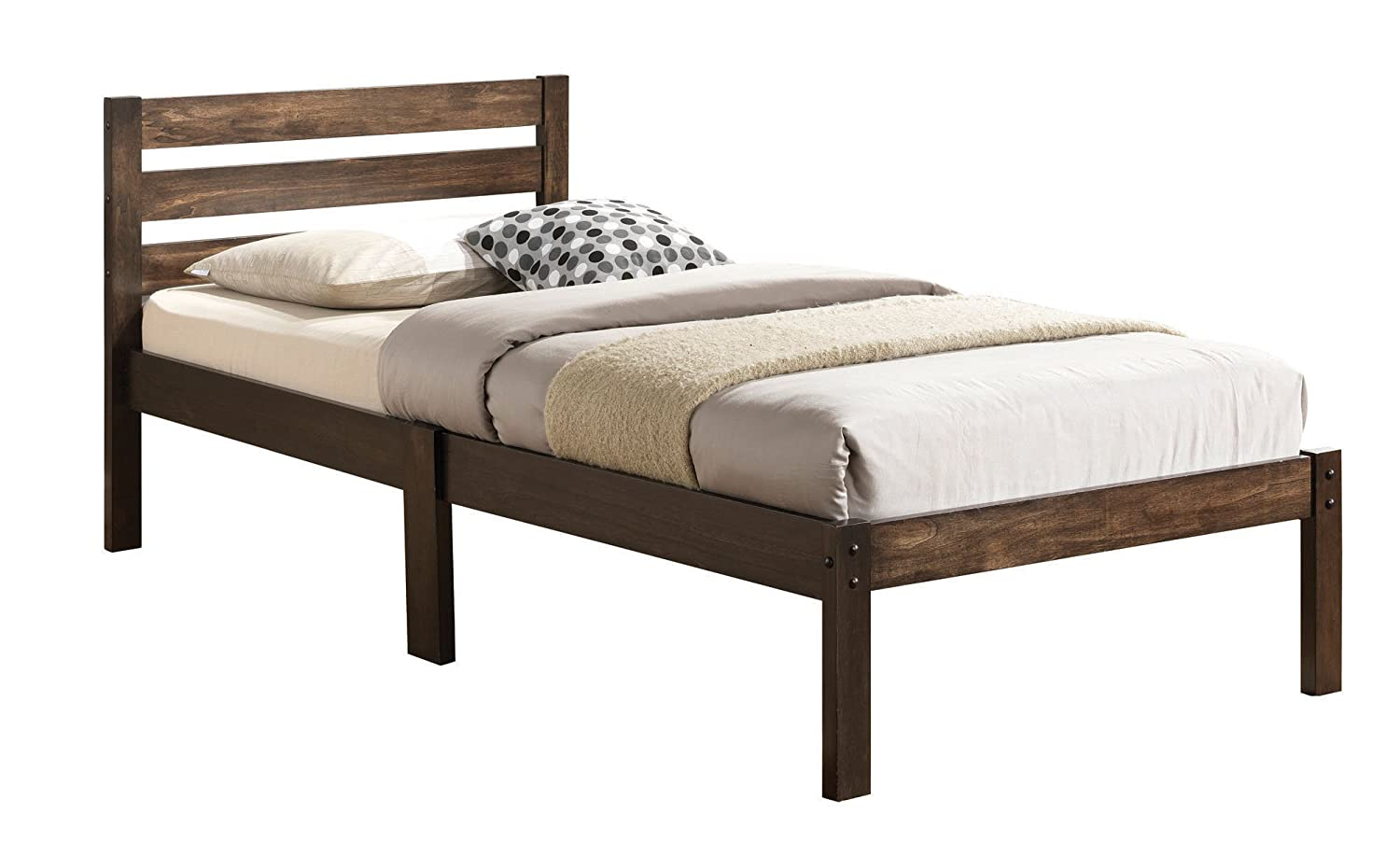 amazoncom acme 21520t donato bed room set twin ash brown finish home u0026 kitchen