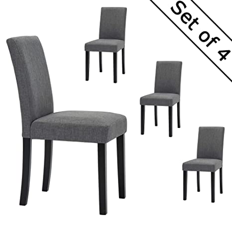 Outstanding Lssbought Set Of 4 Classic Fabric Dining Chairs Dining Room Chair With Solid Wood Legs Grey Andrewgaddart Wooden Chair Designs For Living Room Andrewgaddartcom