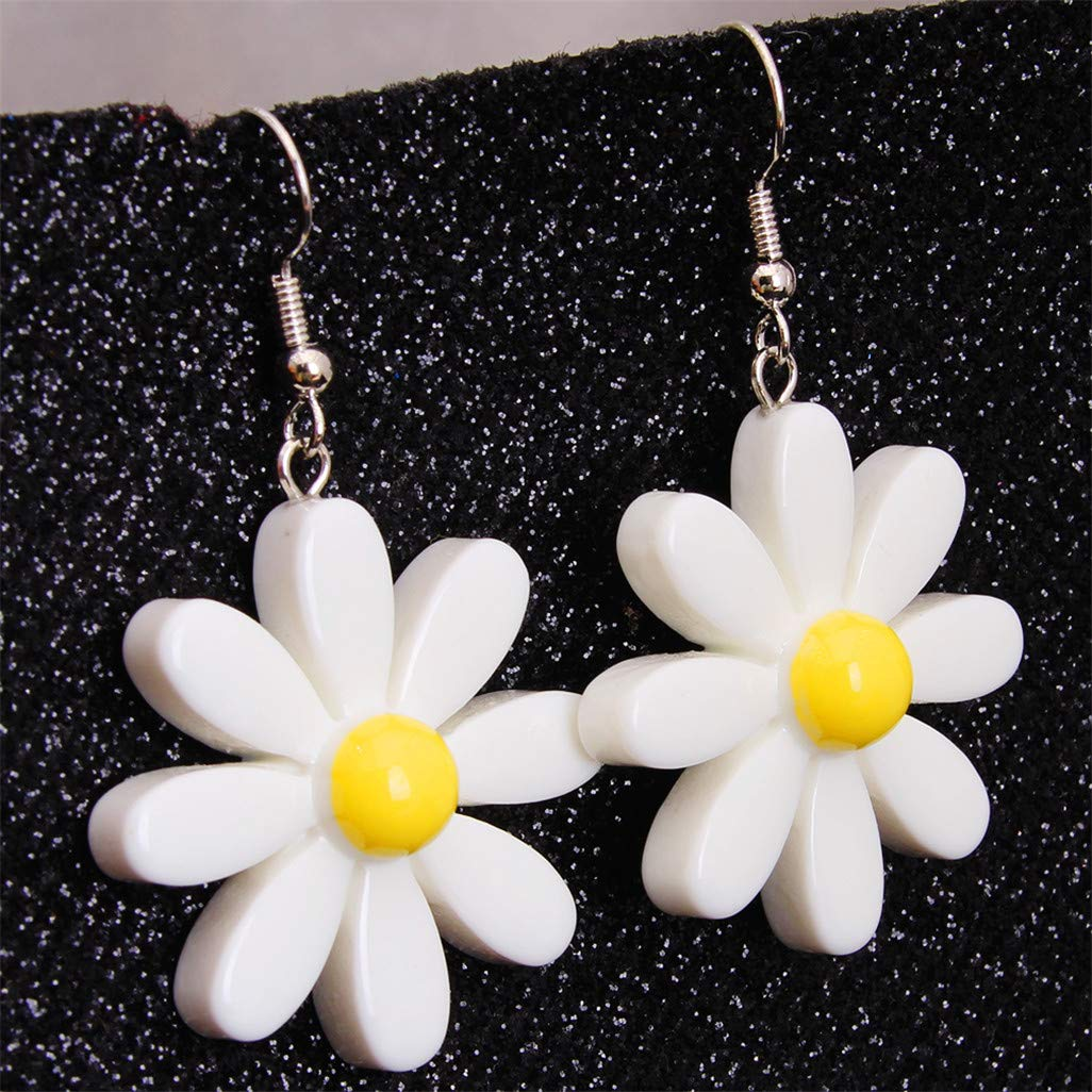 Sweet Silver Color Colorful Flower Pretty Earings White
