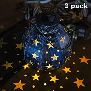 Maggift 2 Pack Retro Star Hanging Solar Lights Outdoor Decorative Solar Lantern with Handle for Indoor Outdoor Garden Yard Tree Patio, 5 Lumens