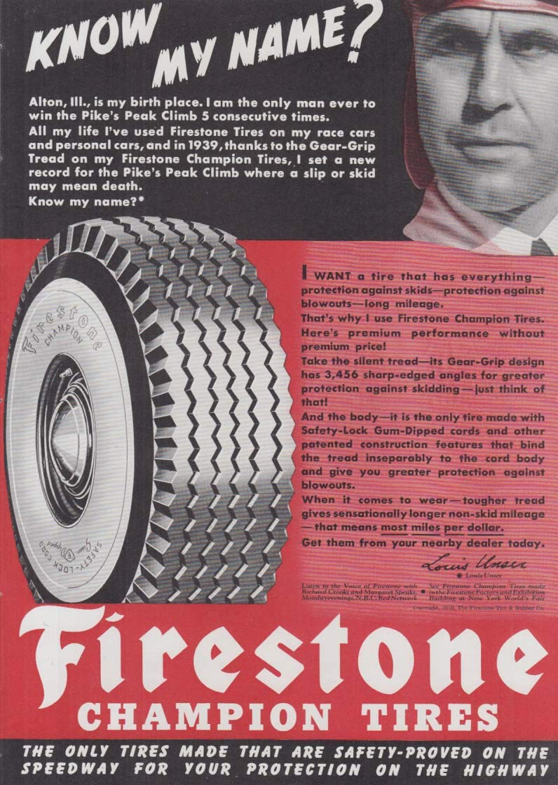 Pikes Peak Race Champ Louis Unser for Firestone Tires ad 1940 at