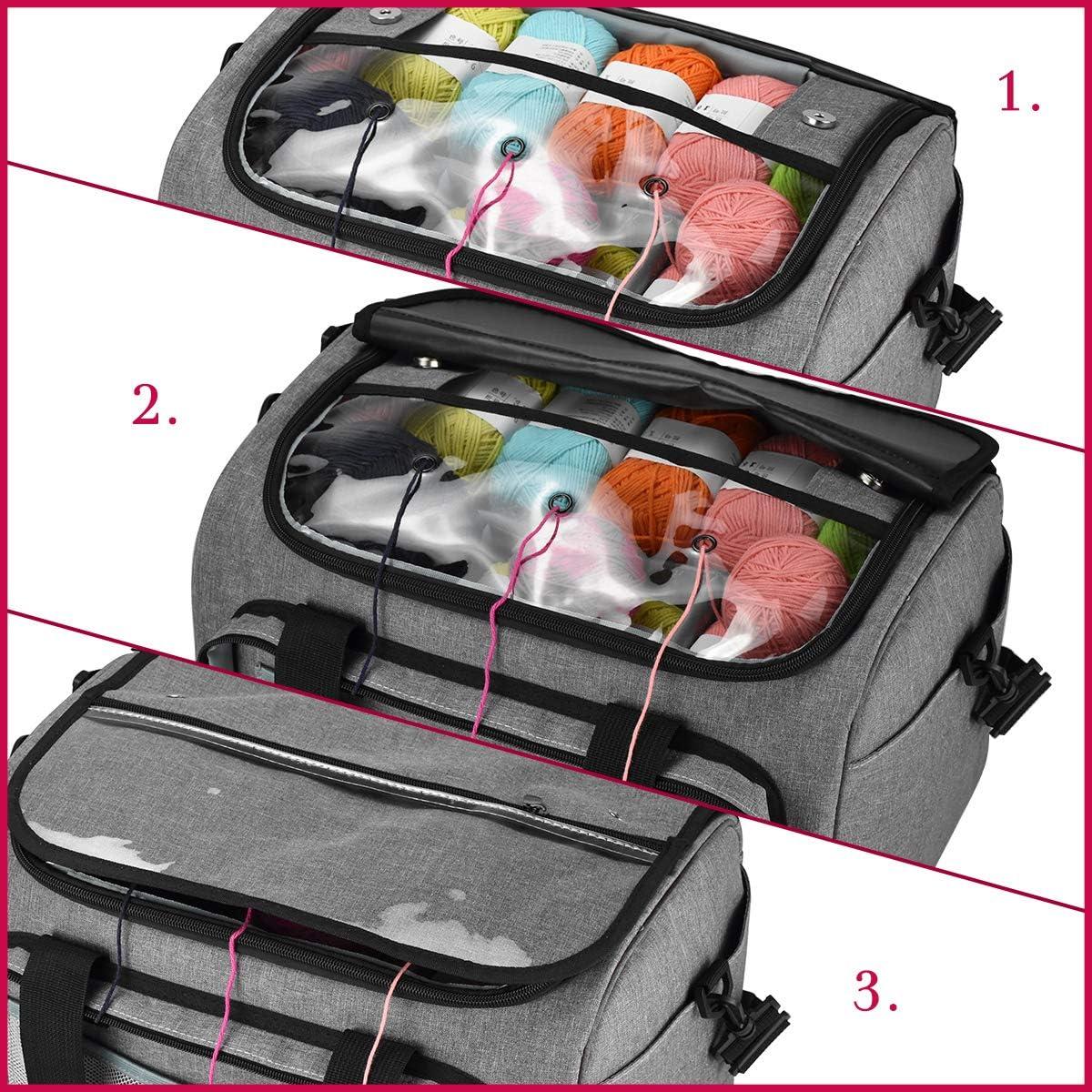Grau kein Zubeh/ör enthalten die geeignet zum Transportieren von Strick-//H/äkeln wolle ist und Taschen f/ür Zubeh/ör Sch/ützen und lagern Sie Ihr Garn H/äkel Tasche Katech Aufbewahrungstasche f/ür Wolle