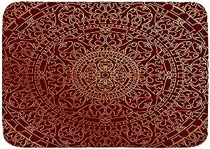 "VANKINE Bath Mat Rug Maroon Antique Arabic Artwork Oriental Mandala Inspired Round Ornament Moroccan Ethnic Plush Bathroom Decor Kitchen Rug Mats Laundry Room Rugs 29.5"" X 17.5"""