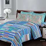 Bombay Dyeing Breeze Collection Flat Double Bedsheet, Printed, Set of 3, 224 x 254cm, Blue, 4910 A