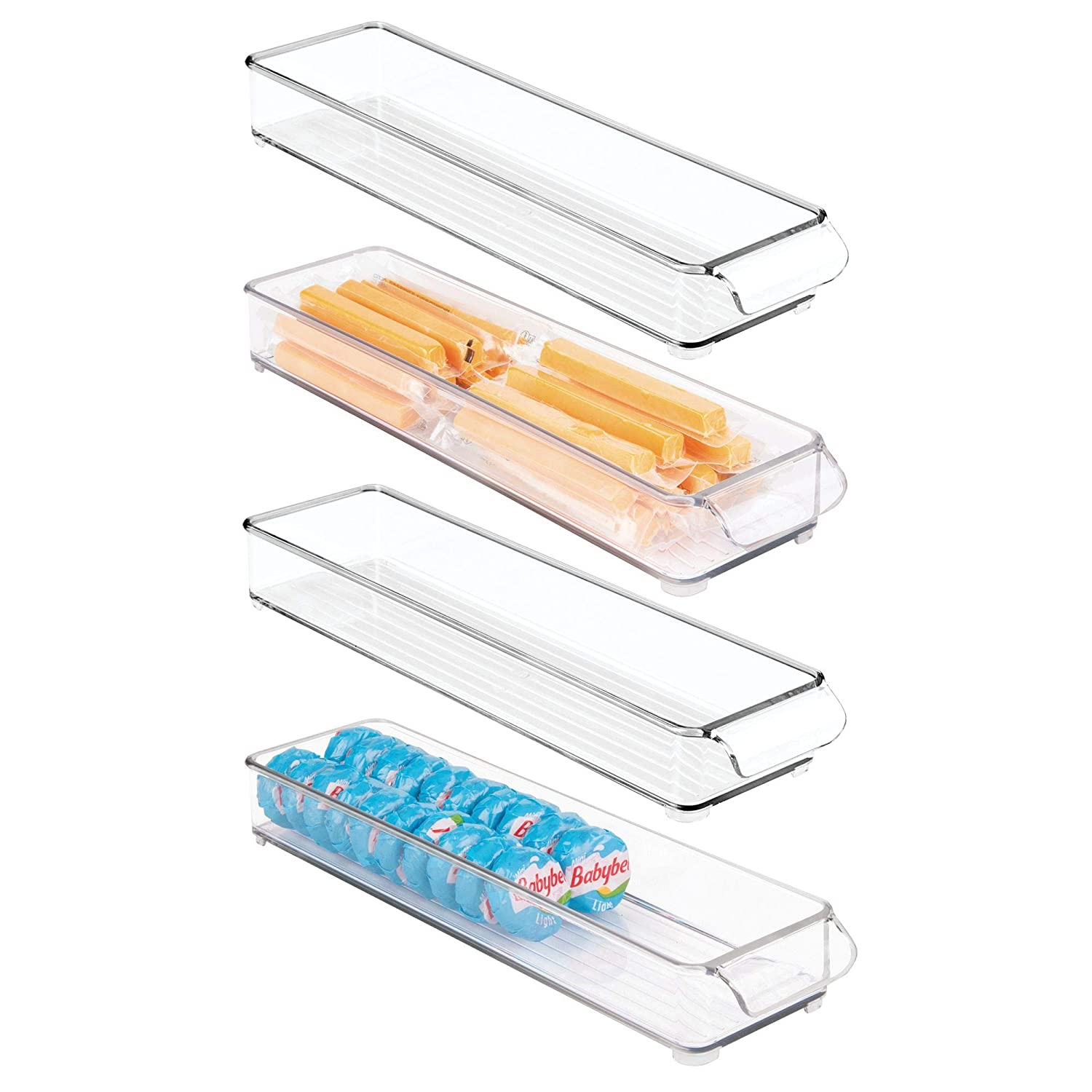 mDesign Stackable Storage Organizer Tray with Pull Front Handle for Kitchen, Pantry, Cabinet, Fridge/Freezer - Shallow Bin for Snacks, Produce, Vegetables, Pasta - BPA Free, Food Safe - 4 Pack, Clear