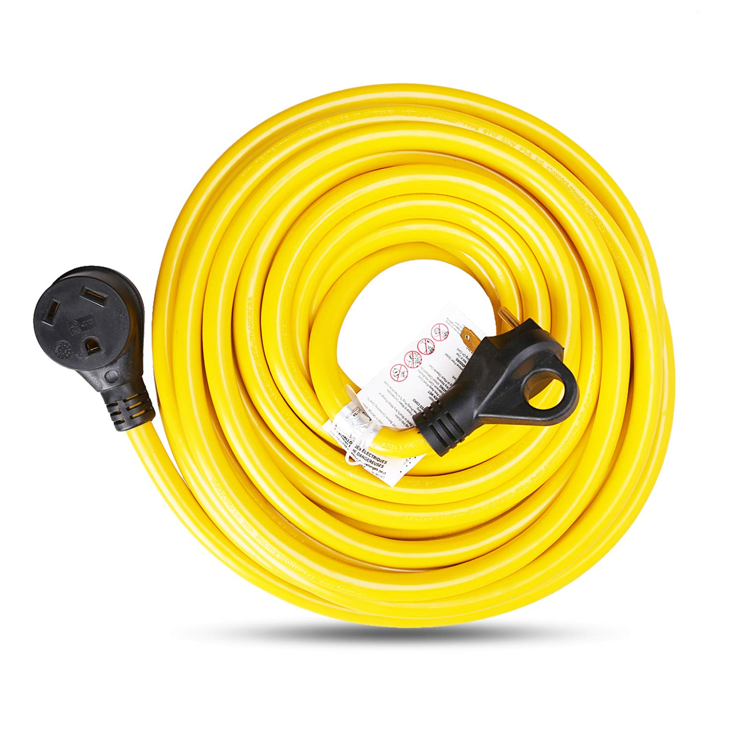 EPICORD RV Extension Cord 30Amp Molded Connector with Grip Handle Plug, 25FT, 125V