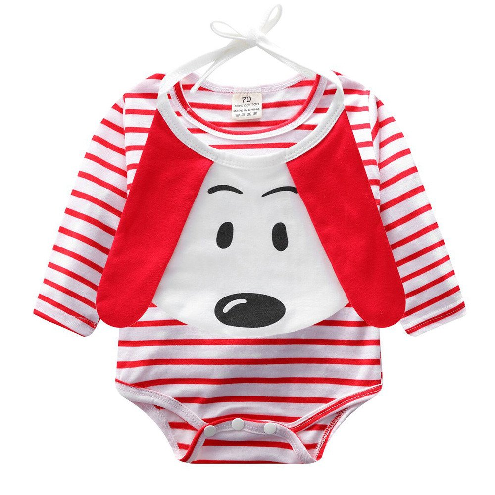 SHITOU Baby Girls Boys Striped Romper Jumpsuit Cartoon Dog Bibs Outfits