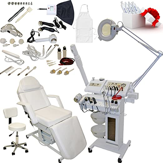 14 in 1 Multifunction Diamond Micro Dermabrasion Facial Machine & Fully Adjustable Electric Massage Bed Chair Table Package