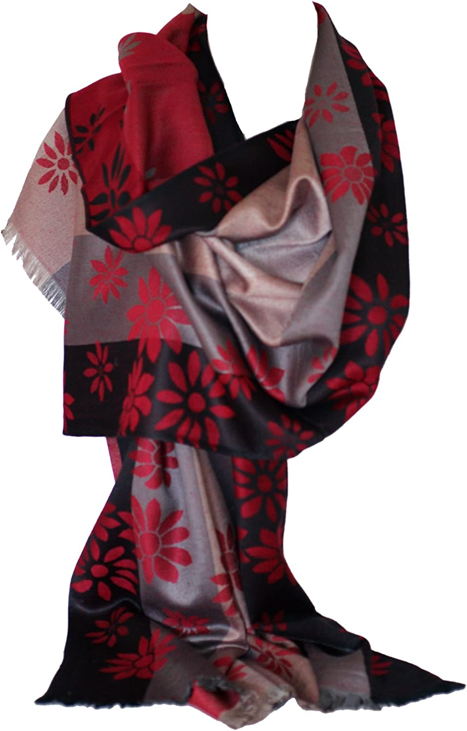 Scarf Shack Cashmere Feel Floral Bordered Pashmina Style Two Sided Reversible Wrap Shawl Scarves