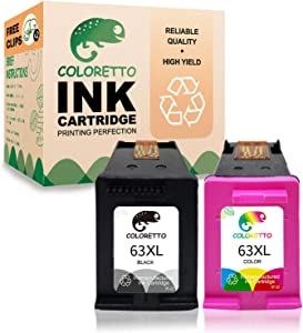Coloretto Re-Manufactured HP Printer Ink Cartridge Replacement 63 63XL 63 XL,Used in Envy 4520 4516 Officejet 5255 5258 4650 3830 3833 5252 DeskJet 1112 3632 2130 3639 5220 3638 (1 Black+1 Tri-Color