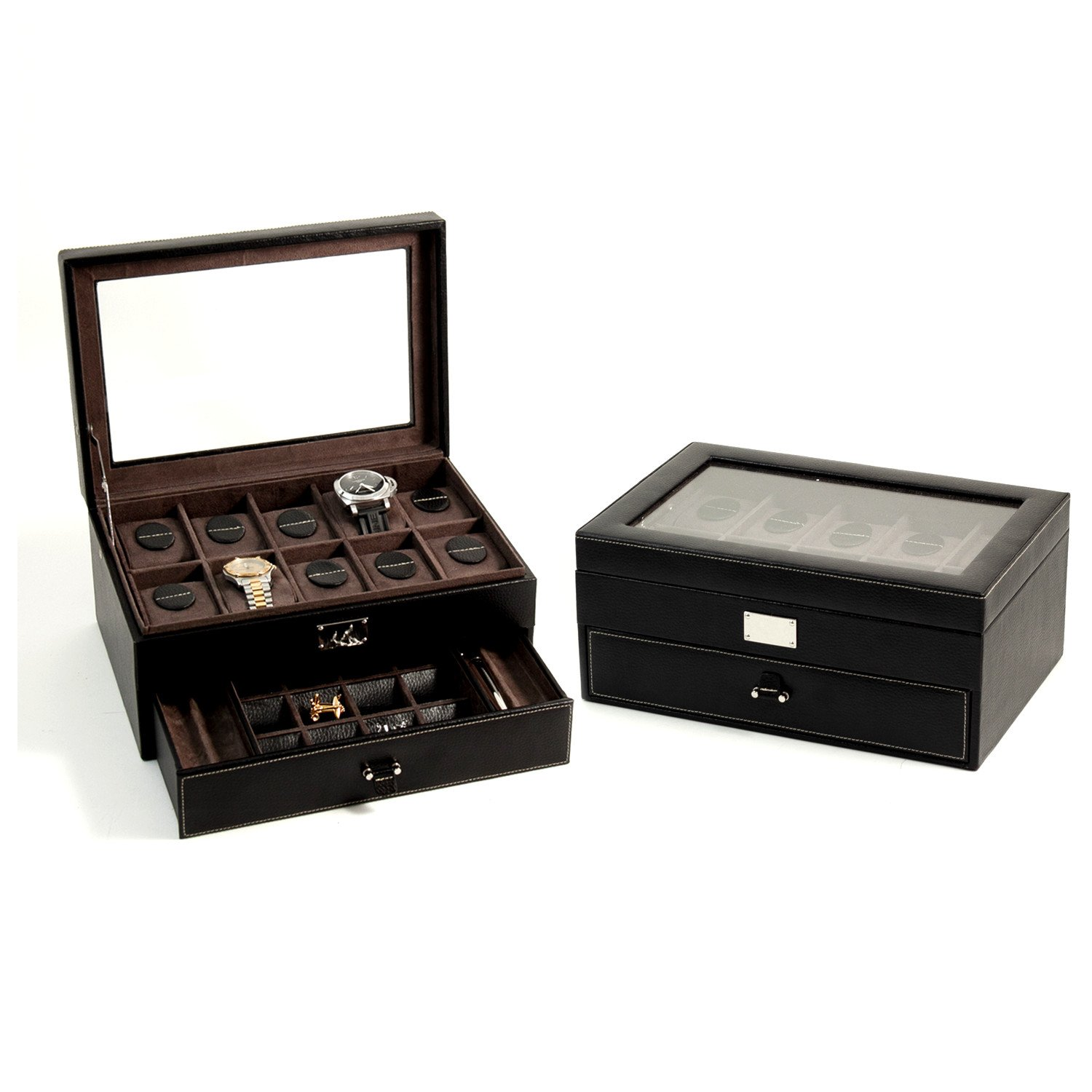 Amazon.com: Black Leather 10 Watch Case With Glass Top, Drawer For Cufflinks  U0026 Pens: Home U0026 Kitchen