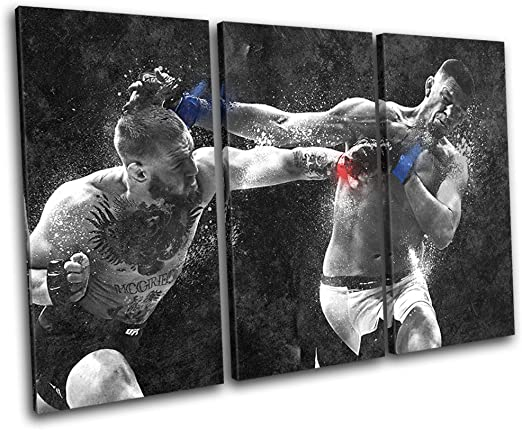 Framed And Ready To Hang Hand Made In The UK Conor Mcgregor Nate Diaz UFC MMA Sports 60x40cm TREBLE Canvas Art Print Box Framed Picture Wall Hanging Bold Bloc Design