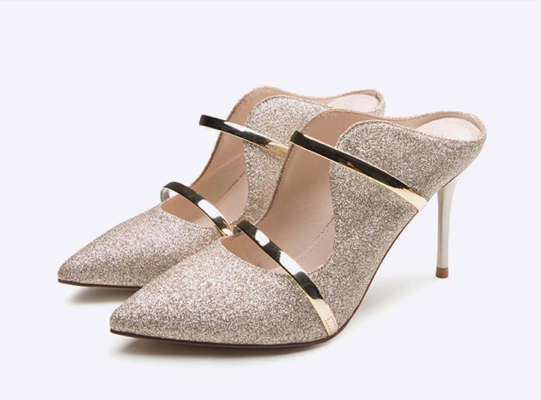 Mittlere Ferse Sandalen Wasser Bohren Grobe Ferse Cool Geschleppt Lady Schuhe High Heel  35|#1