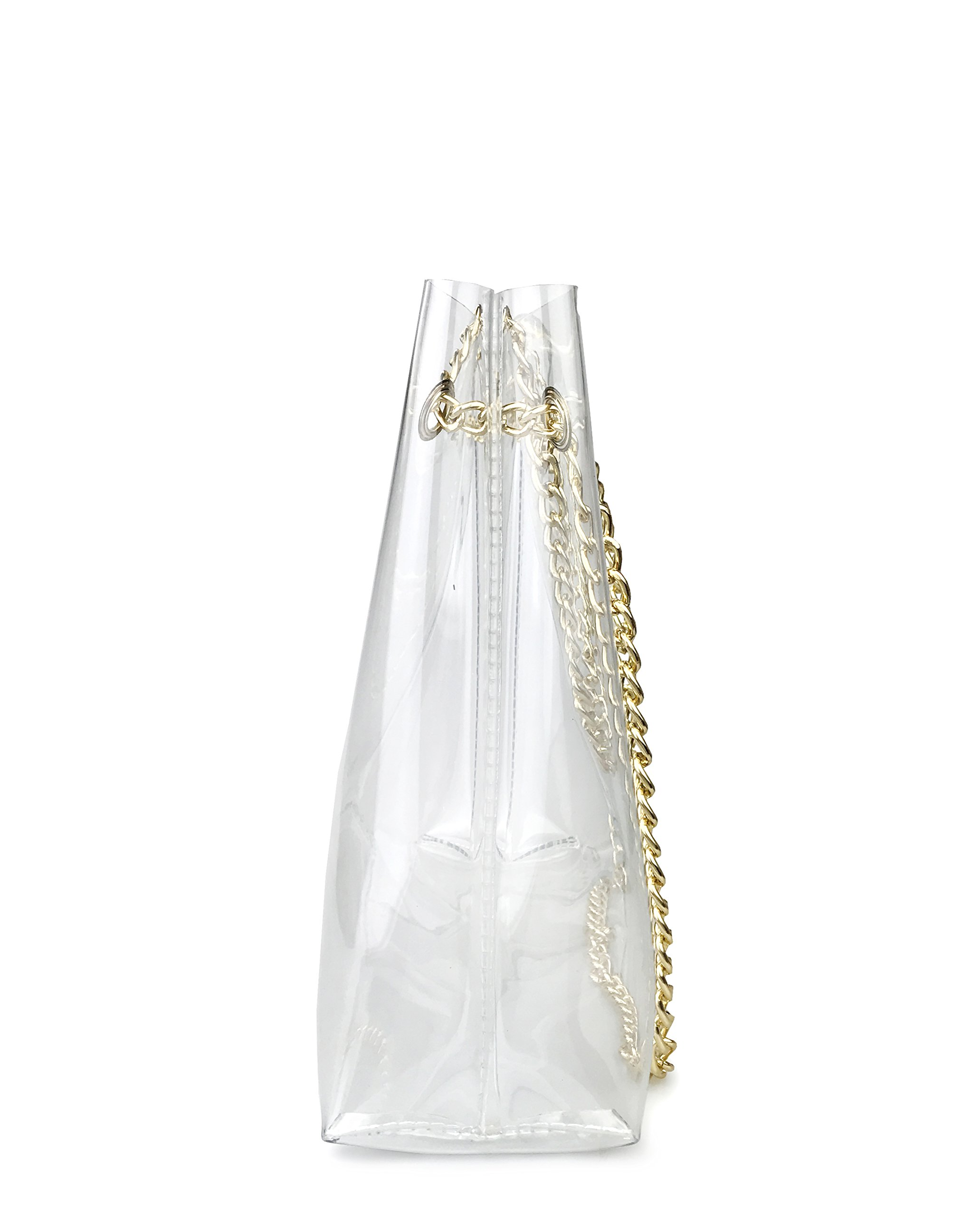 Multifunction Clear Chain Tote with Turn Lock Womens Shoulder Handbag (Clear) by Hoxis (Image #6)