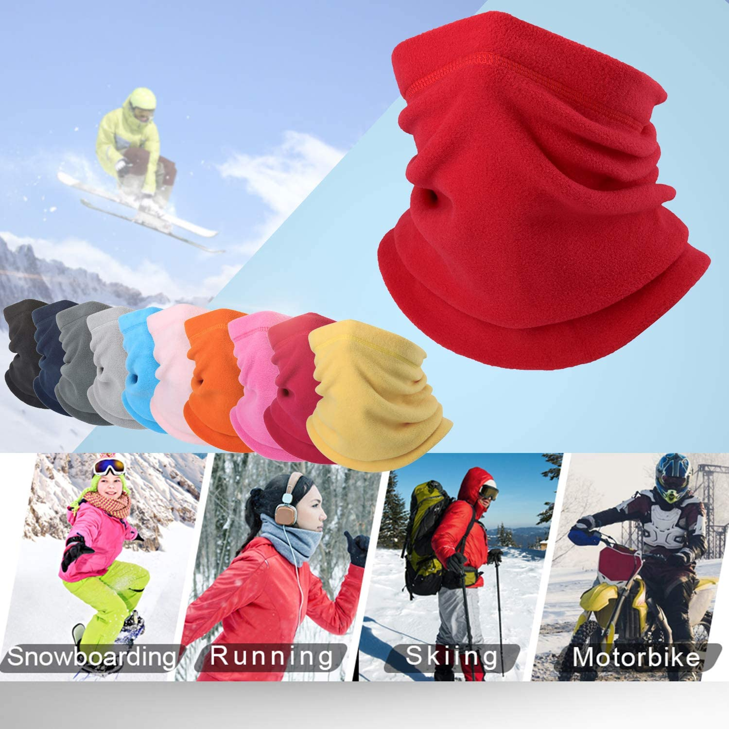 WTACTFUL Polar Fleece Neck Warmer Protective for Chilly Winter 2 Pack // 1 Pack