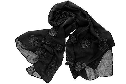 Sciarpa donna ROMEO GIGLI nero stola fantasia floreale tinta unita