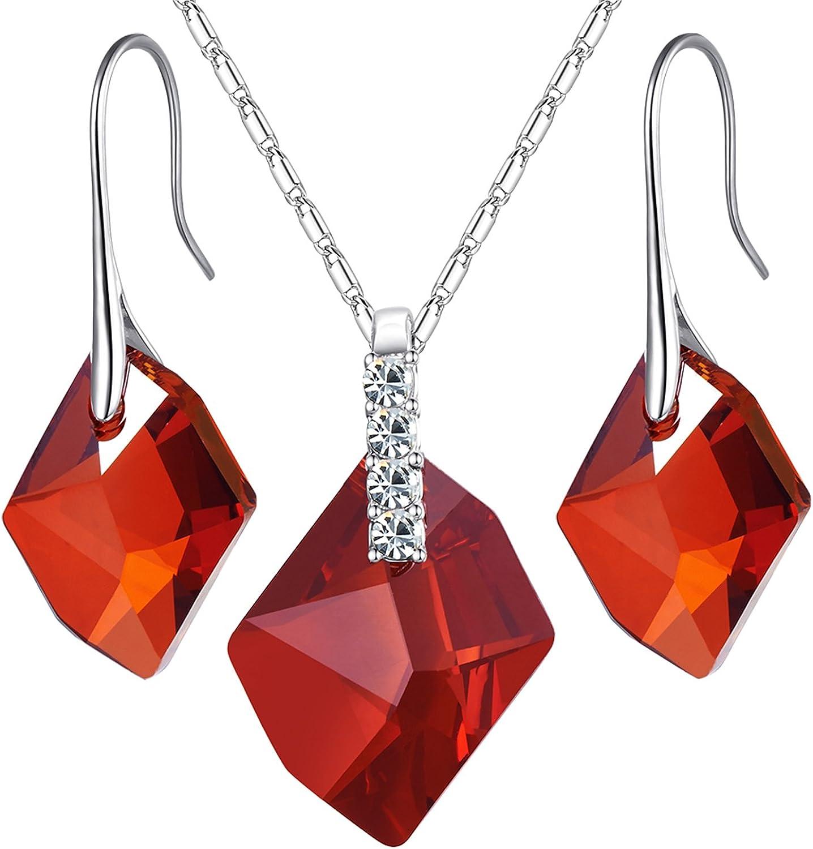 MONDAYNOON Conjutos de Joyas Mujer Collar Colgante Pendientes Cristales Regalo San Valentin para Novia y Mujer