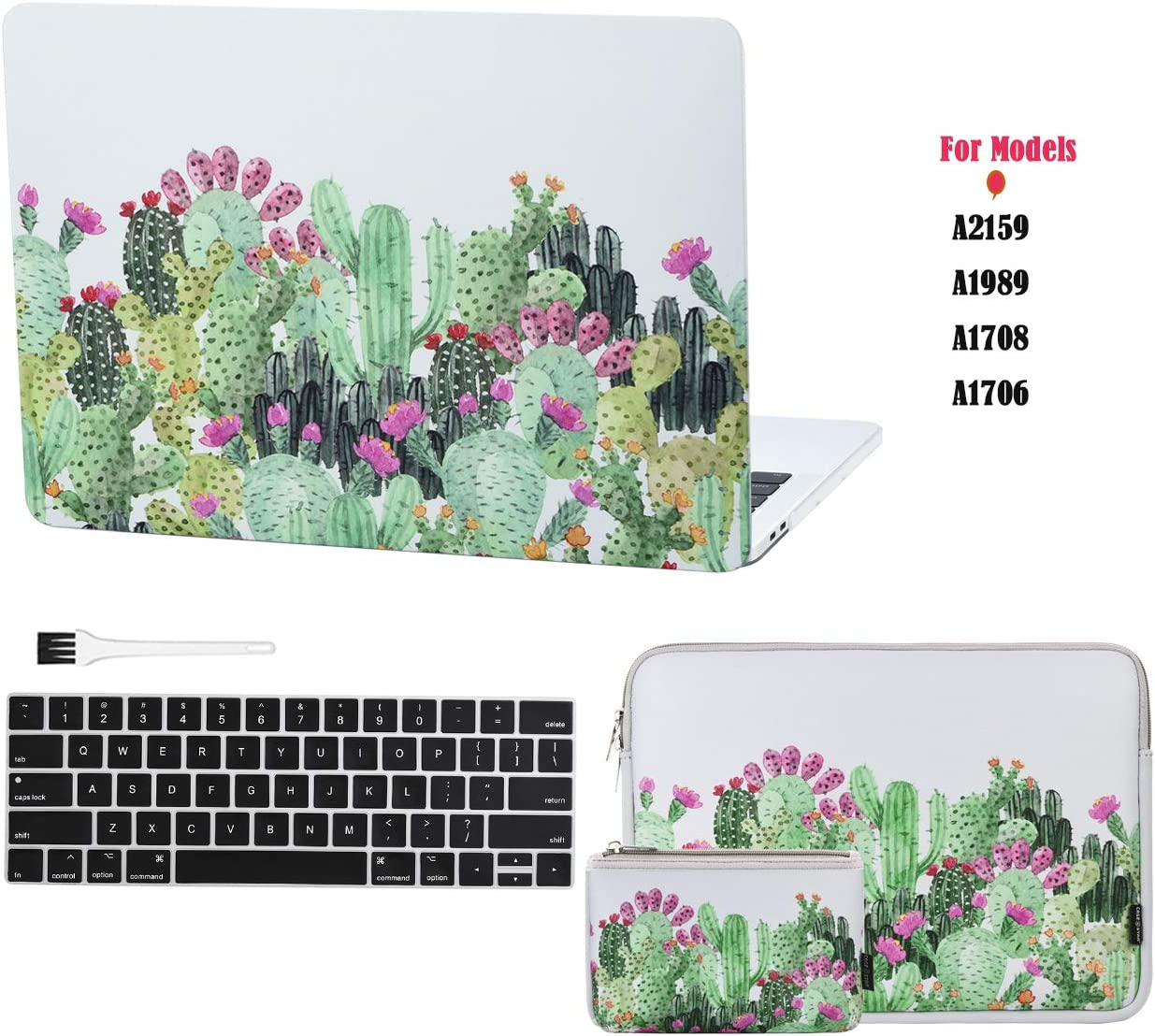 Case Star Laptop case for New MacBook Pro13 Inch New Models A2159 A1989 A1708 A1706+13 Inch Neoprene Laptop Sleeve+Electronics Accessories Pouch+Silicone Keyboard Cover+Brush(Cactus 5pcs Set)