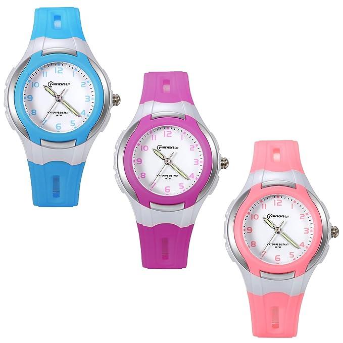 Amazon.com: Lancardo 30M Waterproof Student Boys Girls Japan Quartz Jelly Band Watch Lumilous Hands(Purple): Watches