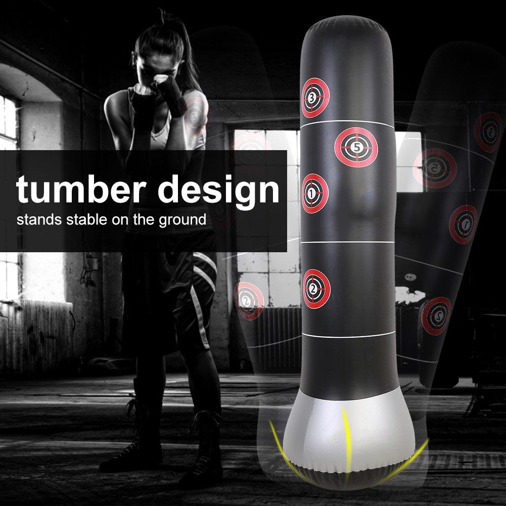 GOTOTOP Entrenamiento Saco de Boxeo Hinchable de Suelo para Entrenamiento Saco Boxing Divertido Bomba de pie para Adultos 157 cm