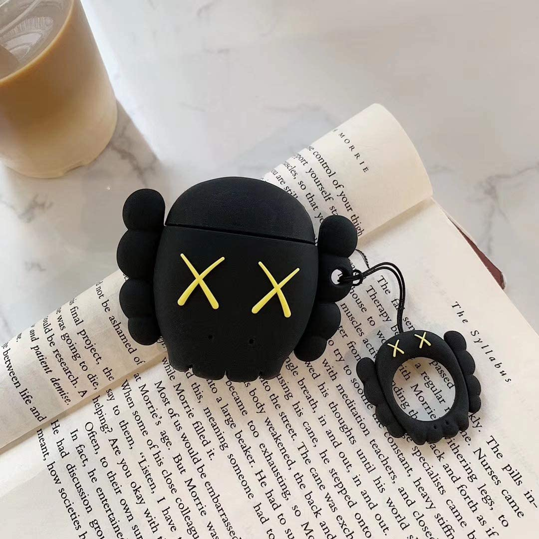 Amazon Com Akxomy Airpods Charging Case 3d Cute Bear Silicone Cartoon Airpods Charging Dock Cover Character Design Airpod Girls Kids Women Soft Full Protective Skin Cases For Airpods 1 2 Black Bear