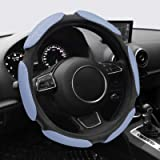 NICEASY Universal 15 inch Sport Style Steering Wheel Cover,All-Gray Sport Grip Steering Wheel Accessory,Made of…