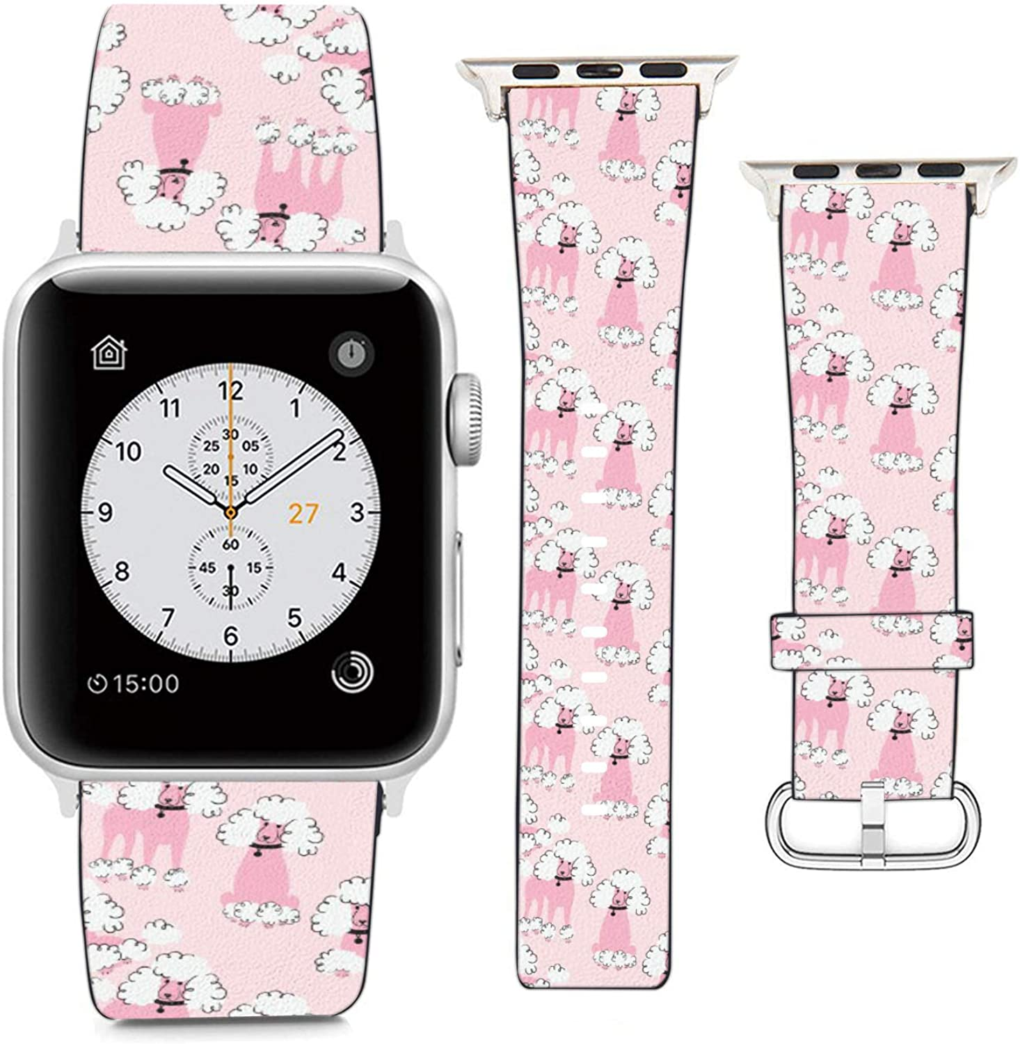 Compatible with Apple Watch Wristband 42mm 44mm, (Cute Poodle Dogs Pattern) PU Leather Band Replacement Strap for iWatch Series 5 4 3 2 1