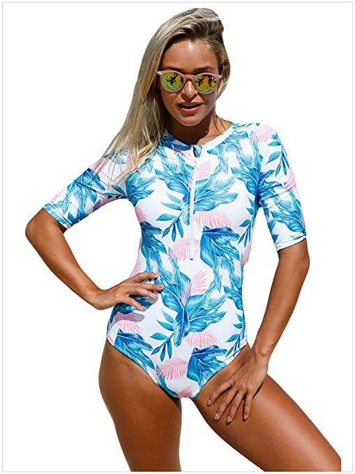 82f90f8c15d03 LCYCN Women Swimsuits,Women's Zip Front One Piece Swimsuit Tropical Print  Padded Bathing Suits,