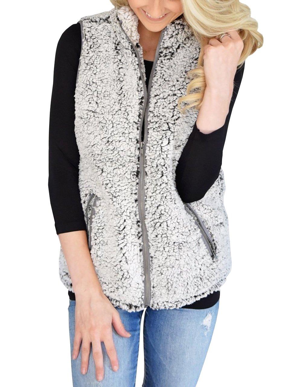 MEROKEETY Women's Casual Sherpa Fleece Lightweight Fall Warm Zipper Vest Pockets by MEROKEETY (Image #1)