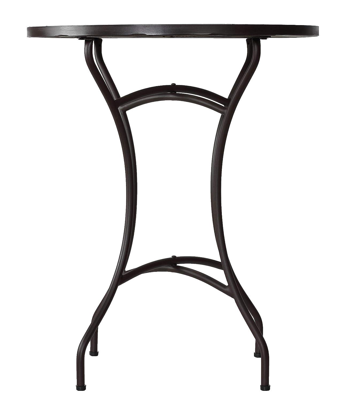 Cortesi Home CH-DT700206 CeCe Mosaic Round Indoor Outdoor Bistro Table, 24 Blue White, Brown