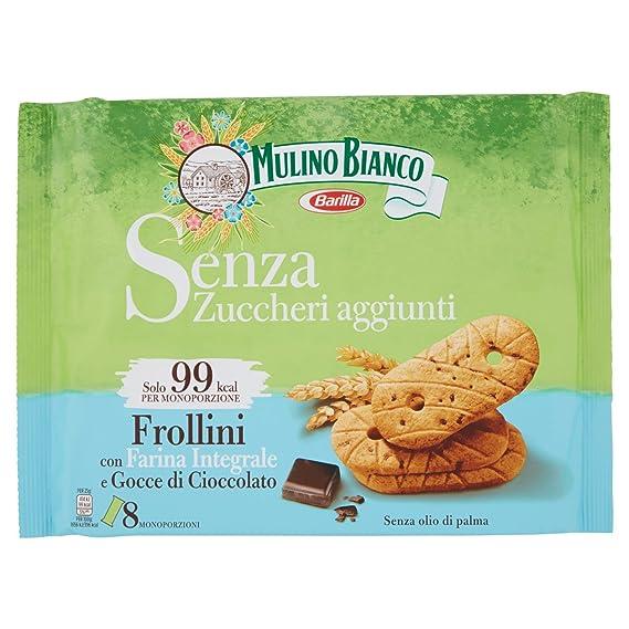 Mulino Bianco Biscotti Frollini Integrali Senza Zuccheri aggiunti con  Cioccolato, 200 gr Amazon.it Alimentari e cura della casa