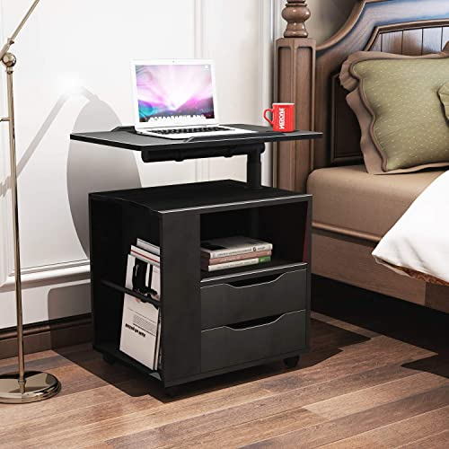 sogesfurniture Height Adjustable Nightstand Movable Bedroom Side Table Overbed Bedside Table Stackable End Table Cabinet