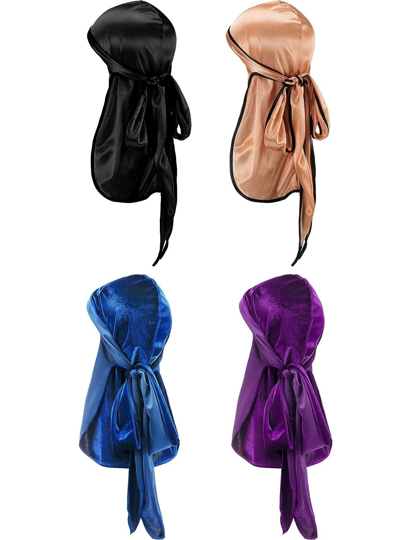 Style E 2 Pi/èces Durag en Velour et 2 Pi/èces Durag en Soyeux Doux Headwraps Casquette avec Longue Queue et Larges Bretelles pour 360 Vagues
