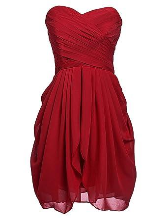 df16b802284 Sarahbridal Women s Chiffon Bridesmaid Dresses Sweetheart Short Homecoming  Prom Gowns Burgundy US2