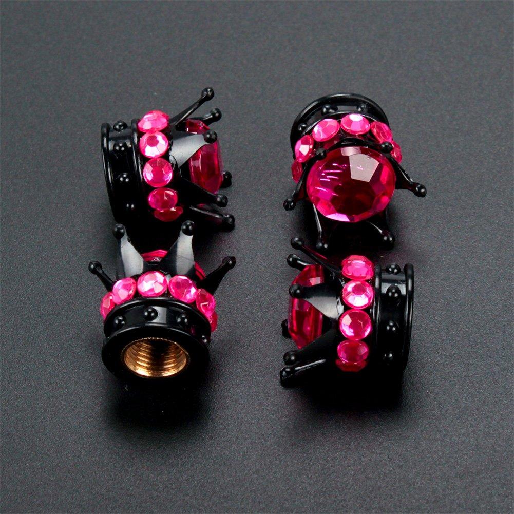 TASIRO 1 Row Pure Handmade Bling Bling Crystal Rhinestones Chrome Crown Tire Valve Stem Caps for Car and Motorcycle Black//Purple