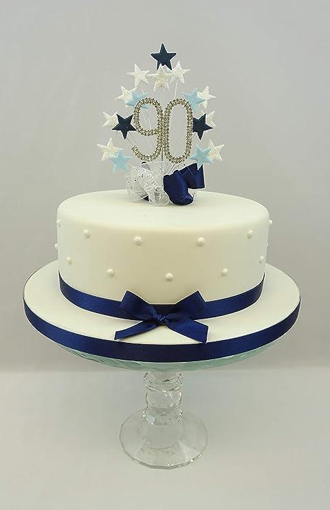 Wondrous Cake Topper Star Burst Spray Diamante 90Th Birthday Numbers Nv Bl Funny Birthday Cards Online Ioscodamsfinfo