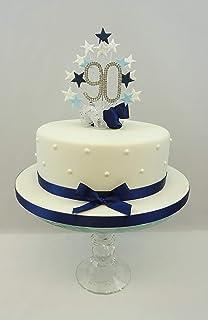 CAKE TOPPER STAR BURST SPRAY DIAMANTE 90th BIRTHDAY NUMBERS NV BL WT
