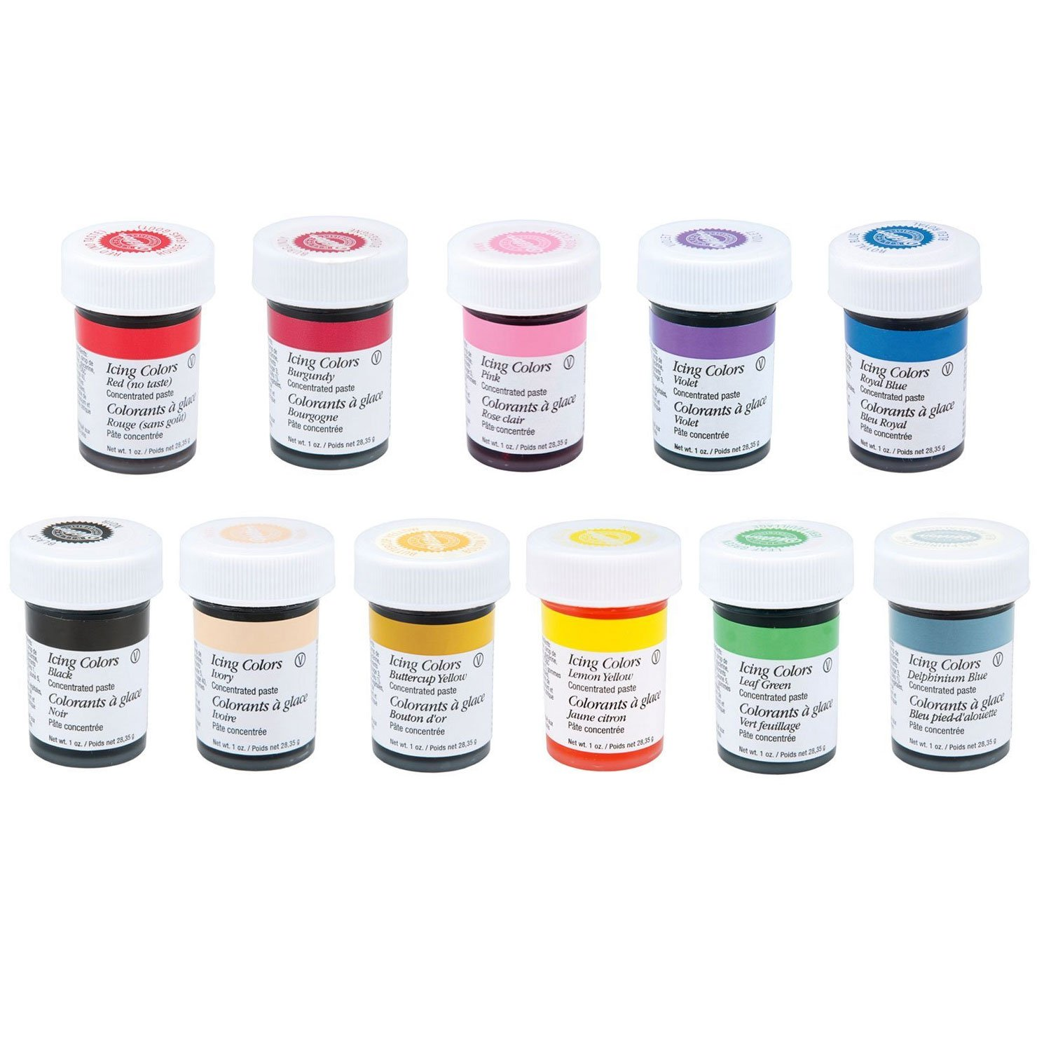Amazoncom Wilton 12 Icing Color Set Includes 12 Large 1 Ounce