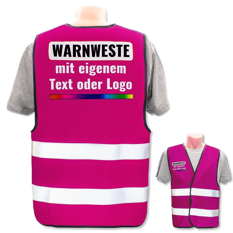 Position /& Druckart:R/ücken//Standard-Druck Bedruckt mit Name Text Bild Logo Firma Warnweste mit eigenem Aufdruck selbst gestalten Farbe /& Gr/ö/ße:Rot//Gr/ö/ße XS